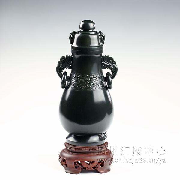黑碧子料-花卉纹饰瓶