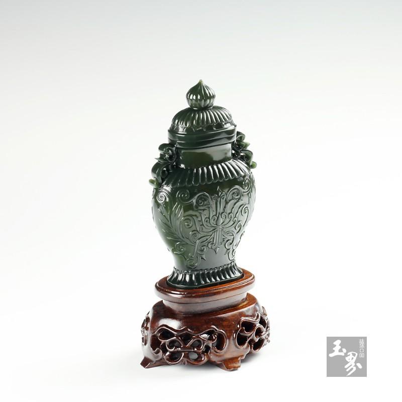 青玉-缠枝花卉薄胎瓶