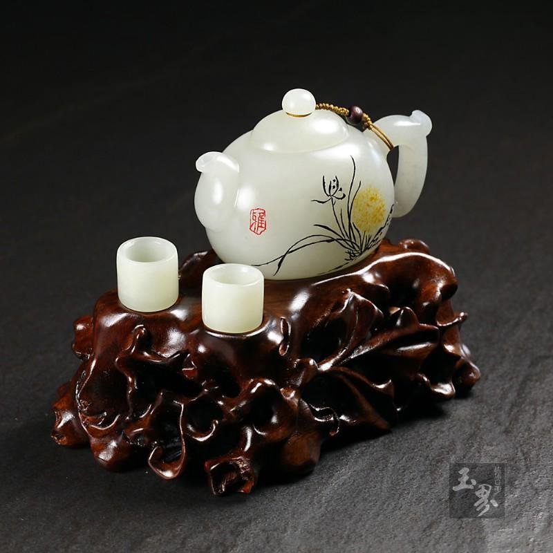 白玉子料-画意把玩壶