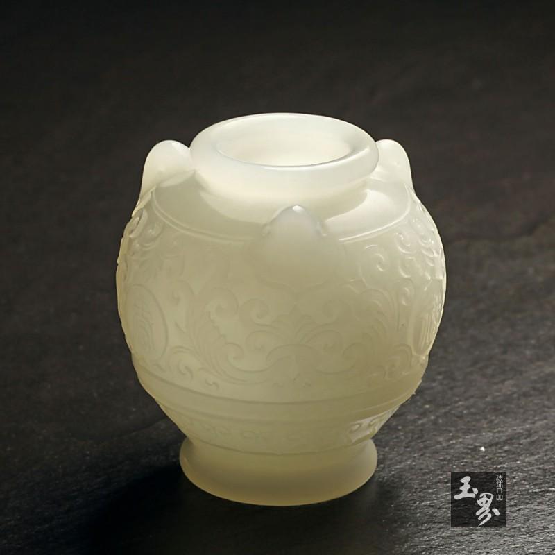 白玉-雕花福禄寿罐