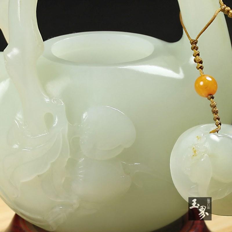 白玉子料-寿桃小提梁壶