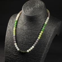 和田玉-七彩圆珠项链