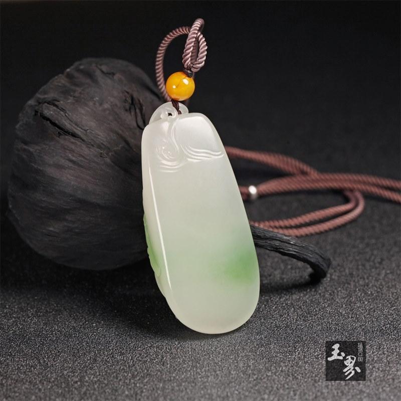 翠青(白玉)挂件-双鱼戏荷
