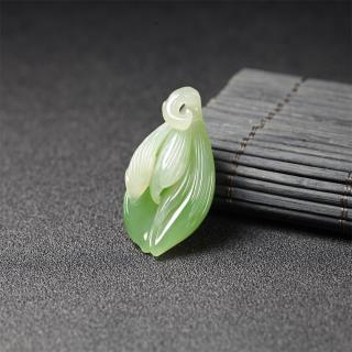 (翠青)白玉挂件-玉兰花