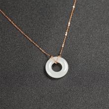 (18k玫瑰金镶钻)白玉-时尚项链