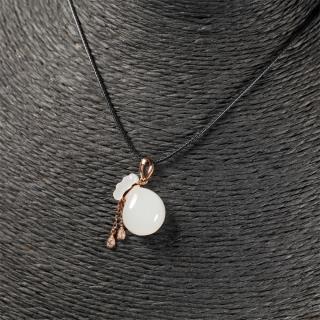 (18k玫瑰金镶钻)白玉-福袋吊坠