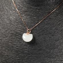 (18k玫瑰金嵌宝镶钻)白玉-时尚吊坠