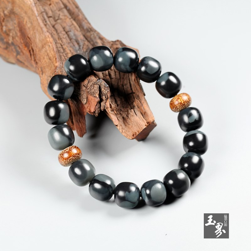 墨玉青花-素珠手链